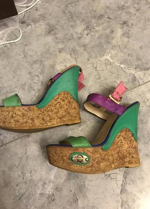 🆘🔥последняя цена до 30 сентября 🆘🔥   кожаные босоножки на платформе разноцветные