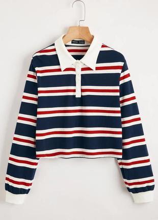 Укороченный свитшот полосатый кроп-топ винтажный свитер с воротником