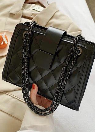 Стебаная сумка в ромбик чёрная женская