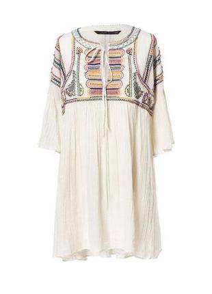 Платье zara woman embroidered dress с вышивкой