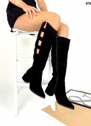 Код 5762 черные замшевые сапоги сапожки glori на каблуке 5,5см