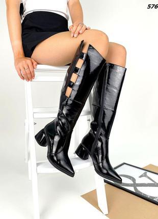 Код 5760 черные лаковые сапоги сапожки glori на каблуке 5,5см