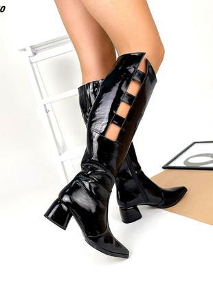 Код 5760-1 зимние лаковые сапоги сапожки glori на каблуке 5,5см