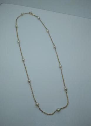 Позолоченная серебряная цепочка с жемчуженками