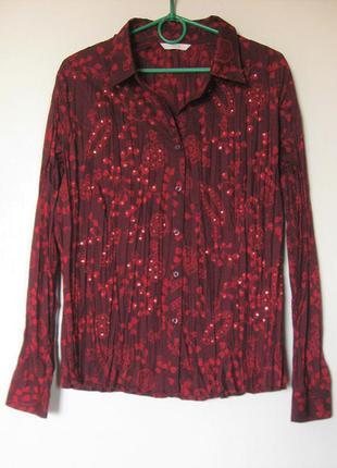 Интересная рубашка блуза гофре с пайетками большой размер p