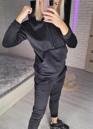 Женский велюровый утеплённый спортивный костюм