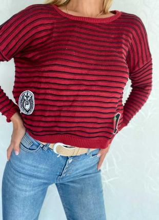 Женский свитер джемпер в полоску вязаный оверсайз свободный нашивка аппликация вышивка