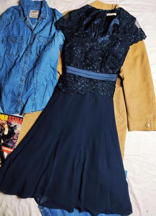 Jacques vert платье темно синее миди кружево гипюр сеточка с бусинами классическое шифон