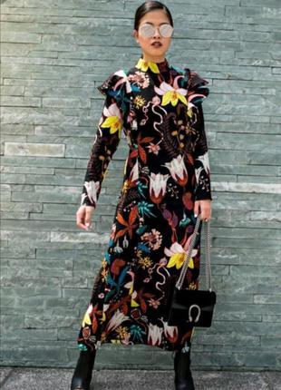 Длинное, макси, миди платье из вискозы в цветочный принт