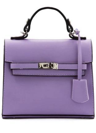 Сиреневая женская сумка кожзам кросс боди с ключиком