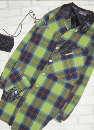 Мега крутая удлиненная теплая рубашка в клетку ,пальто