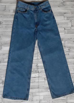 Стильные широкие джинсы на высокой посадке
