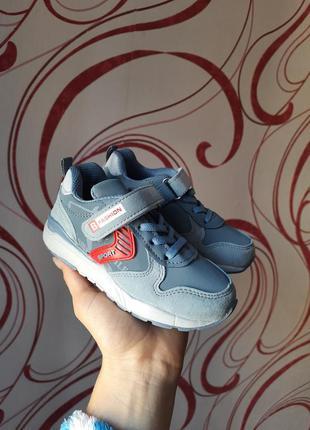 Стильные голубые синие серые кроссовки на липучке для мальчика детские tom.m 27