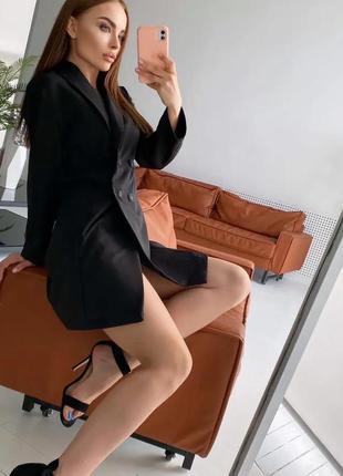 Платье пиджак черный на пуговицах