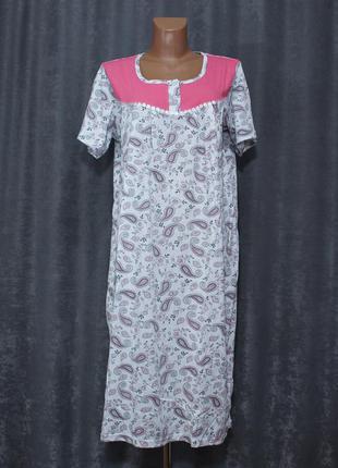 Ночная рубашка, ночнушка 48-58р., нічна сорочка бавовняна fazor
