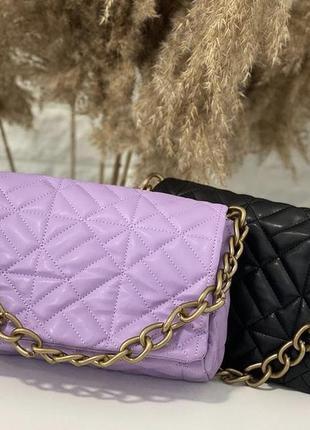 Сиреневая женская сумка кожзам кросс боди стёганая с цепочкой