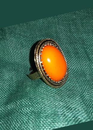 Кольцо винтажное металлическое массивное в этно бохо стиле
