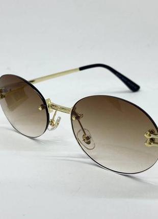 Очки солнцезащитные безоправные овалы с градиентом с металлическими дужками на флексах