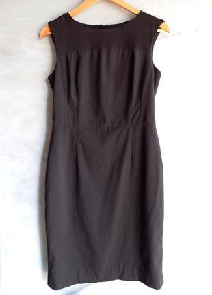 Черное платье футляр шерсть шёлк banana republic