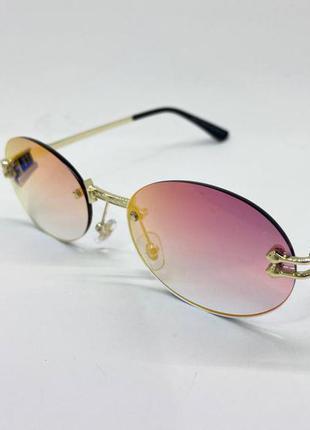 Очки солнцезащитные безоправные овалы зеркальные с металлическими дужками на флексах