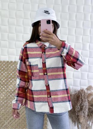 Рубашка теплая клетка 390 грн