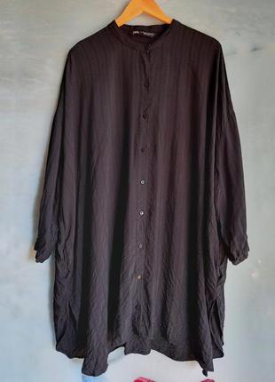 Черное платье рубашка бохо балахон на пуговицах оверсайз zara