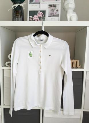 Белая футболка поло с длинным рукавом lacoste в размере m