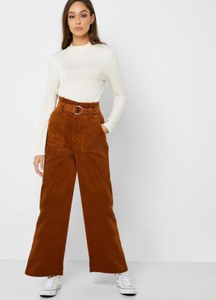 Вельветовые штаны с широкими штанинами палаццо с поясом