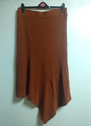 Дизайнерская вязаная теплая юбка 18/52-54 размера