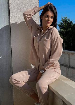 Вельветовый женский костюм двойка рубашка и штаны