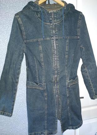 Джинсовое пальто плащ тренч размер s(42)