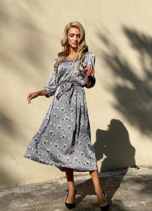 Женское шёлковое платье миди цветочный принт