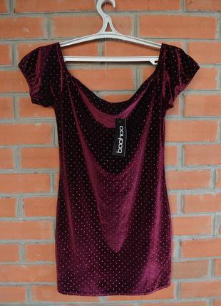 Платье в паетках цвет марсала велюр бархат