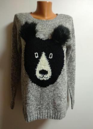 Классный свитерок с мишкой размера l_xl