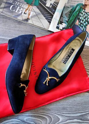 Туфли замшевые винтажные  синие итальянские на низком каблуке ronald cartier 36 37