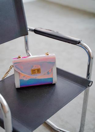 Перламутровая блестящая сумочка кросс боди маленькая мини сумка через плечо