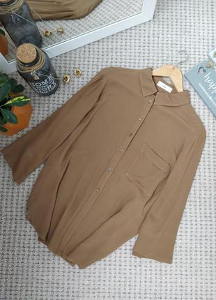 Стильная бежевая блуза рубашка из вискозы mango
