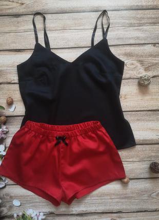 Сатиновая пижамка, комплект для дома, черная маечка, красные пижамные шортики