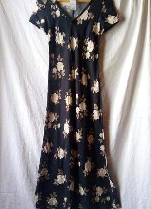 Легкое повседневное летнее платье в розы винтаж вінтаж сукня