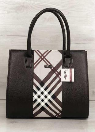 Темно коричневая классическая сумка саквояж каркасная женская деловая для документов бумаг ноутбука