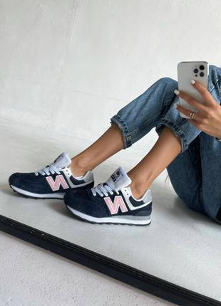 Замшевые женские кроссовки new balance dark blue&pink