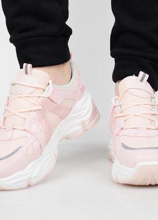 Розовые кроссовки на платформе (336414)