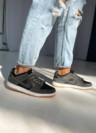Мужские кроссовки nike sb dunk low pro grey / black