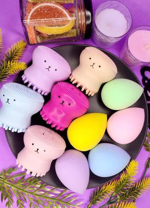 Щетка осьминог для чистки лица и косметический спонжик яйцо спонж, щічка для вмивання, очищення обличчя