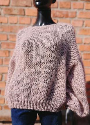 Светр оверсайз в'язаний мохер свитер крупная вязка