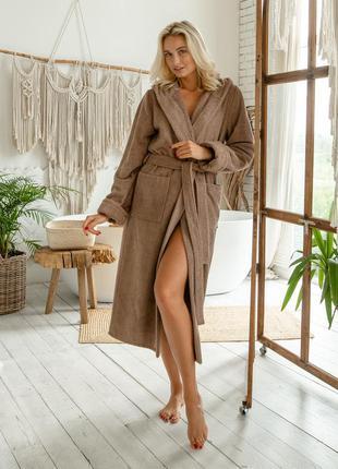 Женский натуральный махровый халат, домашний длинный халат с капюшоном, цвет капучино