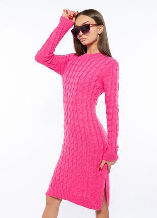 Шикарное качественное теплое женское платье на осень зиму вязаное женское платье малинового цвета демисезонное женское платье зимнее платье с разрезом