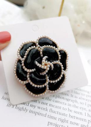 Шикарная брошь брошька (уценка) черная жемчужная роза новая