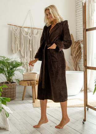 Женский натуральный махровый халат, домашний длинный халат с капюшоном, коричневый