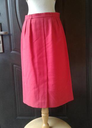 Полушерстяная розово- красная юбка,l